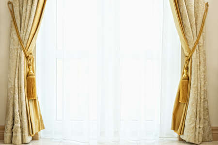 curtain background: Luxury curtain with a copy-space in the middle