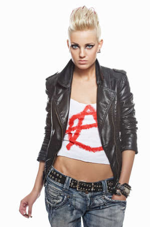 Punk girl with a cigarette isolated on white background photo