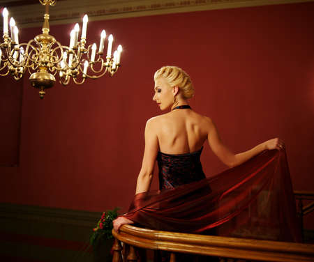 Attractive blond woman in evening dress Stock Photo - 9657952
