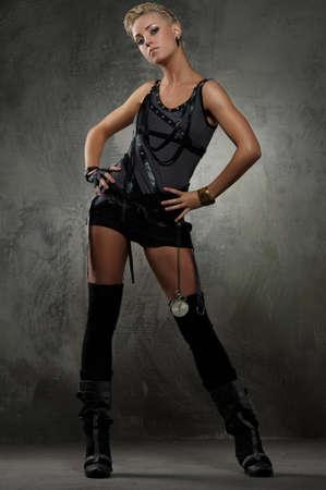 punk hair: Attractive steam punk girl standing