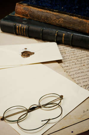 handwriting: Vintage glasses on blank paper Stock Photo