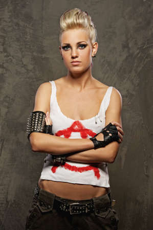 Punk girl standing photo