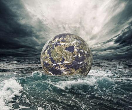 breaking wave: World in danger  Stock Photo