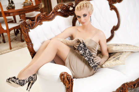 Beautiful blond woman in a luxury interior Stock Photo - 9949757