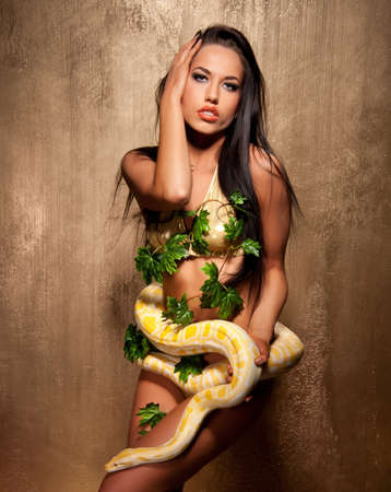 Attractive brunette woman with albino python Stock Photo - 9949821