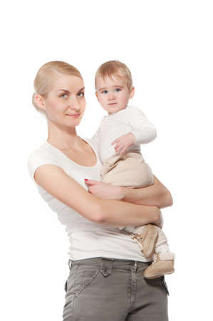 Mother holding her baby boy Stock Photo - 9949775