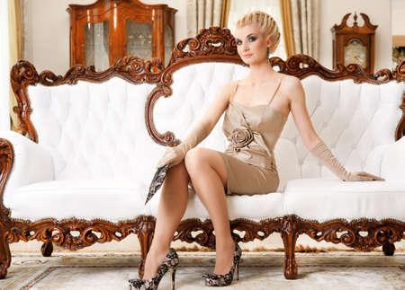 horizontal haircut: Beautiful blond woman in luxury interrior