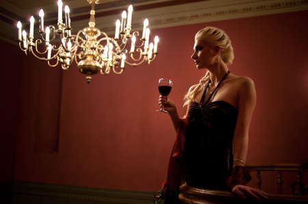Beautiful lady with a glass of wine. photo