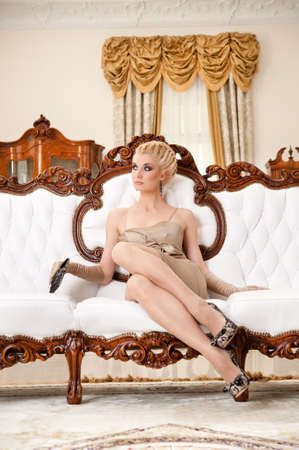 beautiful blonde woman: Beautiful blond woman in luxury interrior