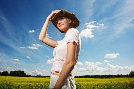 Beautiful woman in cowboy hat. Stock Photo - 9949855