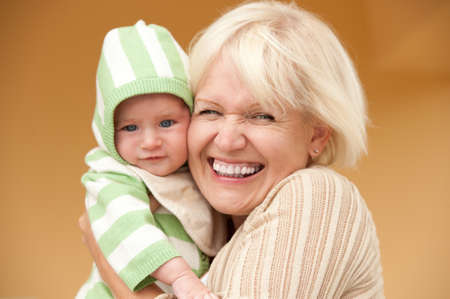 grandmother grandchild: Happy grandmother with her grandchild
