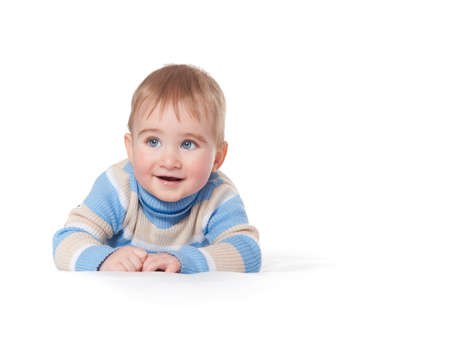 Baby boy isolated on white background photo