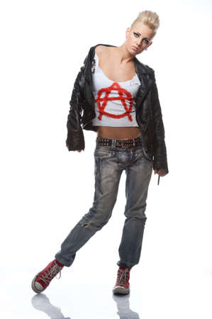 punk rock: Punk girl in leather jacket.