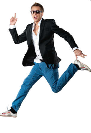 the guy: Handsome man jumping. Stock Photo