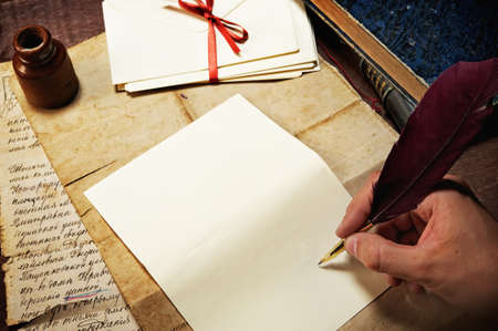 quill pen: Vintage letter concept. Stock Photo