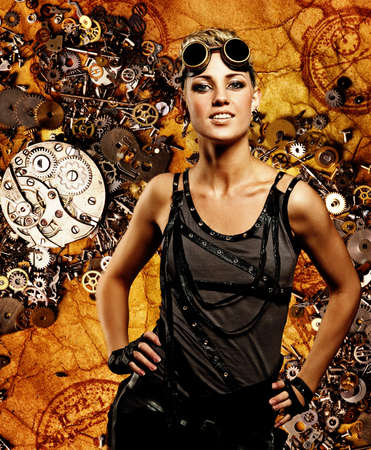 Steampunk girl over grunge background photo