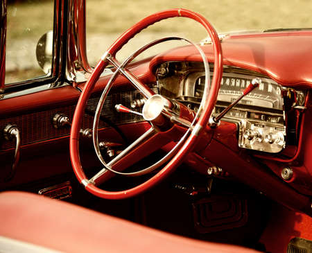 antique car: Retro car interior Stock Photo