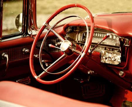 gearstick: Retro car interior Stock Photo
