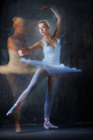Beautiful ballet dancer in motion.  photo