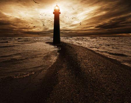Stormy sky over  lighthouse Stock Photo