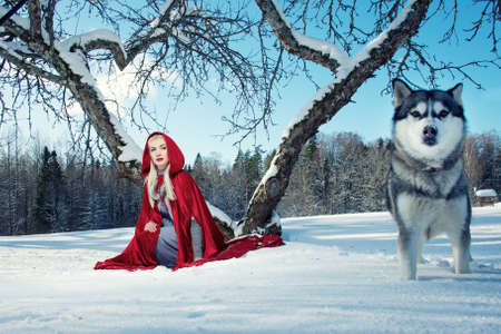 Red Hood with a wolf. photo