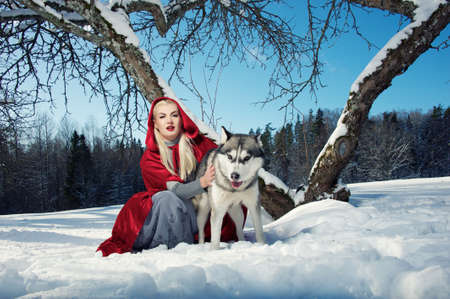 Red Hood with a wolf photo