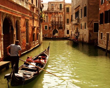 venice italy: Traditional gondola ride