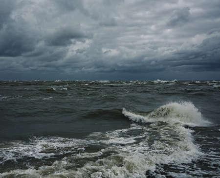 Stormy sky over a sea photo