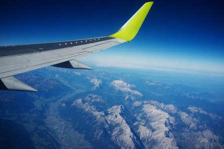 Uitzicht op straaljager vleugel. Stockfoto