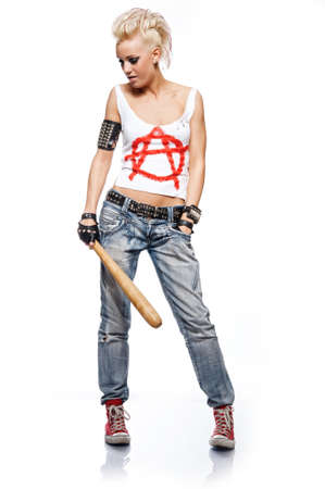 punk rock: Punk girl with a bat isolated on white.