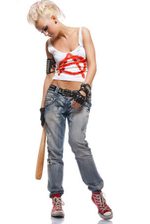 anarchy: Punk girl with a bat isolated on white.