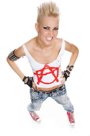 Punk girl isolated on white bkackground. photo