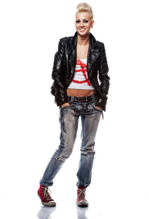 Punk girl in leather jacket smiling photo