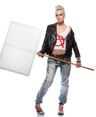 Punk girl with a blank sign photo