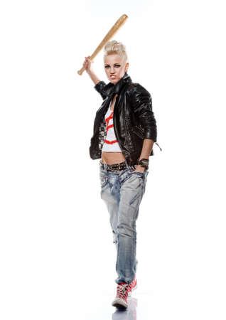 s horn: Punk girl in leather jacket with a baseball bat