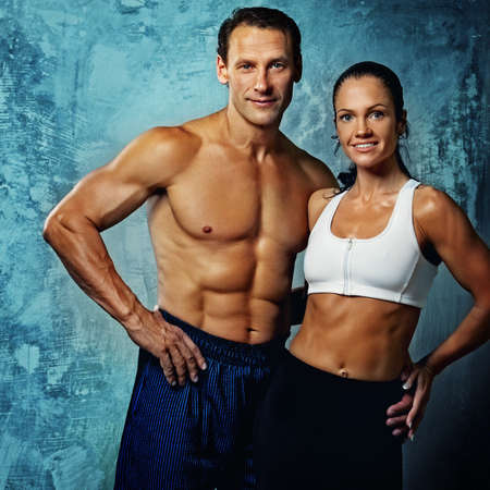 abdominals: Beautiful athletic couple.