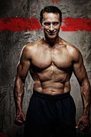 powerlifting: Handsome muscular man.