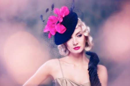 Lovely woman in hat retro portrait photo