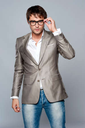 glasses model: Fashionable handsome young man. Stock Photo