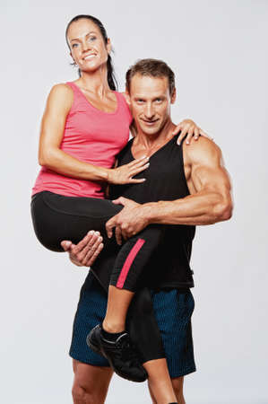 powerlifting: Beautiful athletic couple