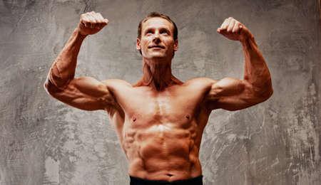 powerlifting: Handsome muscular man