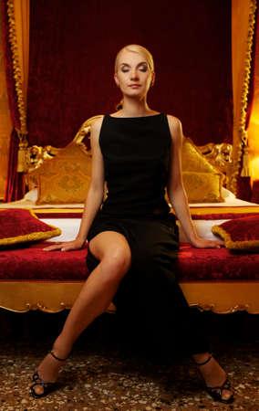 Beautiful woman in luxury interior photo