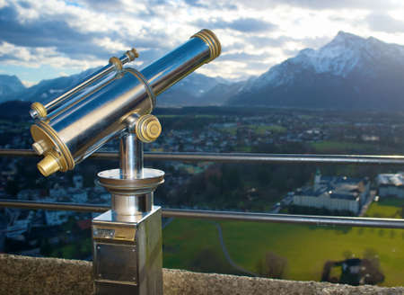 A telescope for observation of Salzburg city. photo