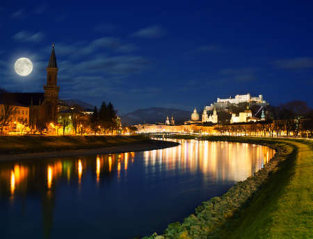 Salzburg city view at night. photo