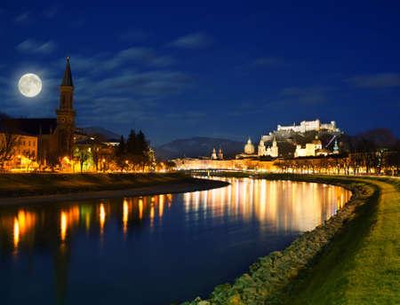 salzburg: Salzburg city view at night.