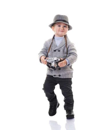 cardigan: Baby boy with retro camera.