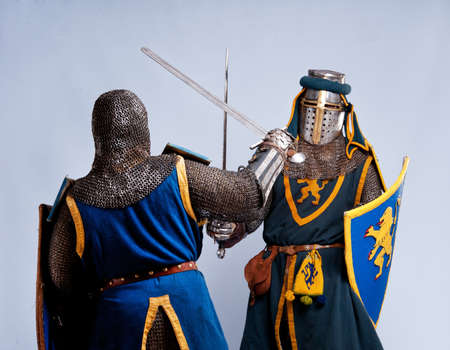 Two medieval knights fighting. Stock Photo - 12148929