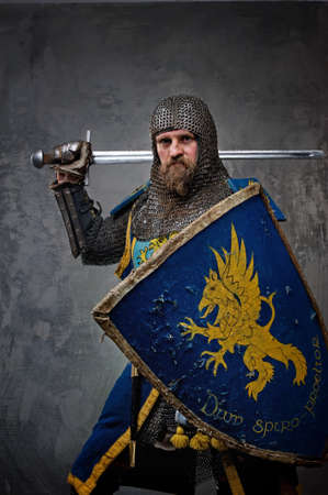 Medieval knight on grey background. Stock Photo - 12148916