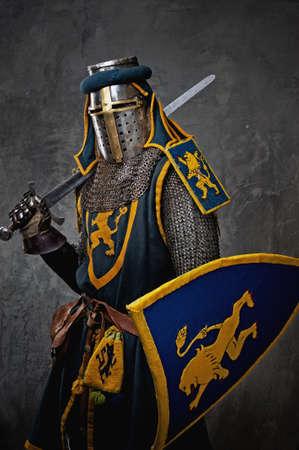 caballero medieval: Caballero medieval sobre fondo gris.