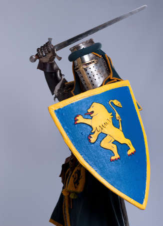 cavaliere medievale: Il cavaliere isolato su sfondo grigio.